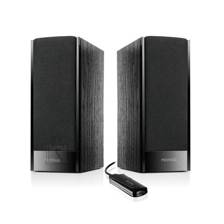 MicroLab Microlab B-56 2.0 Speakers/ 3W RMS (1.5W+1.5W)/ wired Remote/ USB Powered/ Wooden MDF/ Black