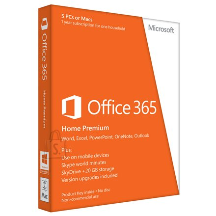 Microsoft Microsoft 6GQ-00148 Office 365 Home Premium 32-bit/x64 Estonian Subscription 1 License Eurozone Medialess 1 Year