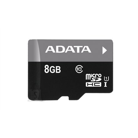 A-Data A-DATA 8GB Premier microSDHC UHS-I U1 Card (Class 10), Sequential reads are up to 50 MB/second, and write speeds reach the UHS-I speed class 1 specification, with 1 Adapter, retail