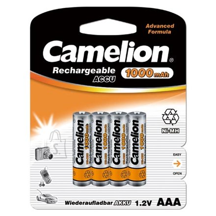 Camelion Camelion  Rechargeable Batteries Ni-MH AAA (R03), 1000mAh, 4-pack