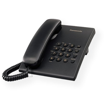 Panasonic Panasonic KX-TS500FXB Corded phone, Black, Wall-mount option, Last Number Redial, Flash, Volume Control (6 levels), 3-Step Ringer Selector, Tone/Pulse