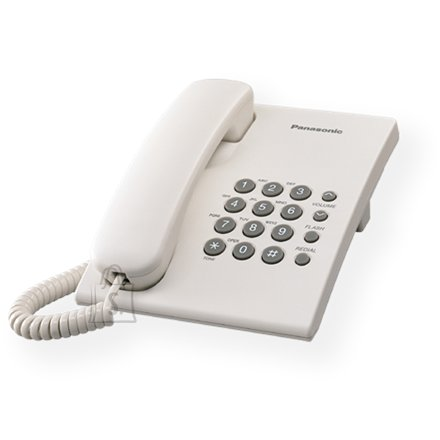 Panasonic Panasonic KX-TS500FXW Corded phone, White, Wall-mount option, Last Number Redial, Flash, Volume Control (6 levels), 3-Step Ringer Selector, Tone/Pulse