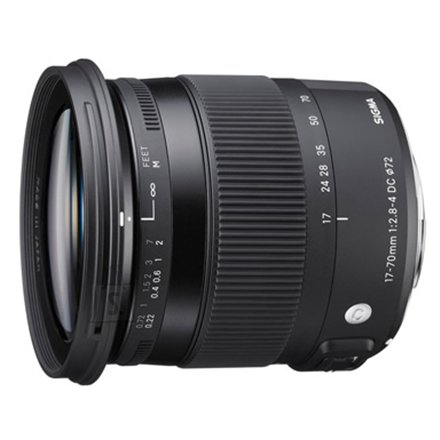 Sigma Sigma AF 17-70mm F2.8-4.0 DC MACRO OS HSM for Nikon, 17 Elements in 13 Groups, Angle of View: 72.4 - 20.2 degrees, 7 Blades, Minimum Focusing Distance: 22 cm.