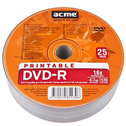 ACME toorik DVD-R 4.7GB 16X 25tk printable