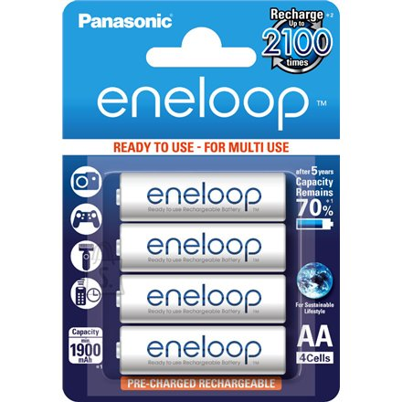 Panasonic Eneloop Ready To Use Rechargeable Battery 4x AA BK-3MCCE-4BE (1900mAh)/ Recharge 2100 Times/ Retains 90% Charge After 1 Year