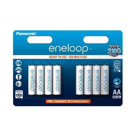 Panasonic Eneloop Ready To Use Rechargeable Battery 8x AA BK-3MCCE-8BE (2000mAh)/ Recharge 2100 Times