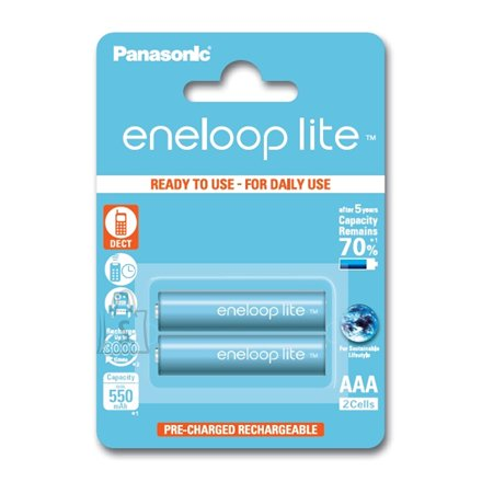 Panasonic Eneloop Ready To Use Rechargeable Battery 2x AAA BK-4LCCE-2BE (600mAh)/ Recharge 3000 Times