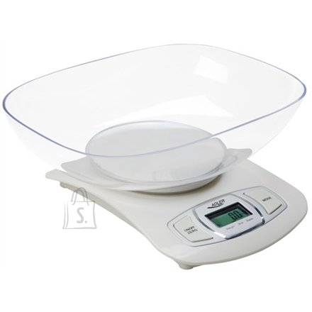 Adler Adler AD 3137 Kitchen scales, Capacity 5 kg , Graduation 1g, Big LCD Display, Auto-zero/Auto-off, Large bowl, White Adler Adler AD 3137  Maximum weight (capacity) 5 kg, Graduation 1 g, Display type LCD, White