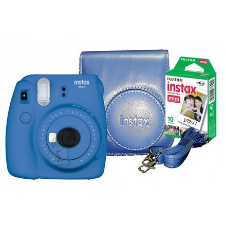 Fujifilm Fujifilm Instax Mini 9 + Instax mini glossy (10) + Camera Case Focus 0.6m - ∞, Cobalt Blue