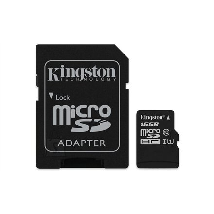Kingston Kingston Canvas Select UHS-I 16 GB, MicroSDHC, Flash memory class 10, SD Adapter