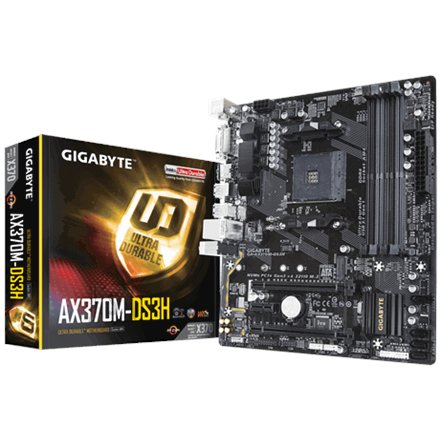 Gigabyte Gigabyte GA-AX370M-DS3H Processor family AMD, Processor socket AM4, DDR4 DIMM, Memory slots 4, Chipset AMD X, Micro ATX