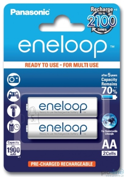 Panasonic Panasonic eneloop AA/HR6, 1900 mAh, Rechargeable Batteries Ni-MH, 2 pc(s), Ready to use