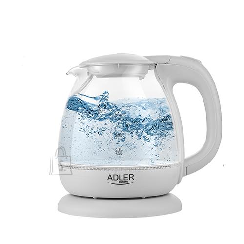 Adler Adler Kettle AD 1283G Standard, 1100 W, 1 L, Plastic/ glass, White/ transparent, 360° rotational base