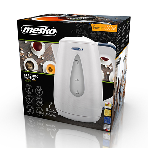 Mesko Mesko Kettle MS 1261 Electric, 2200 W, 1.7 L, Plastic, White, 360° rotational base