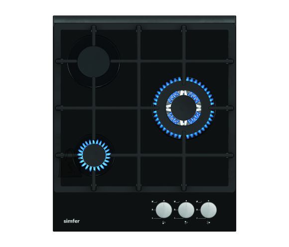 Simfer Simfer Hob H4.305.HGSSP Gas on glass, Number of burners/cooking zones 3, Rotary painted inox knobs, Black, 45 cm