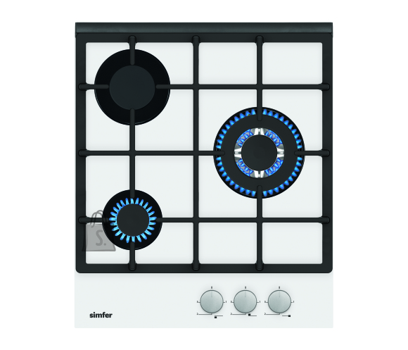 Simfer Simfer Hob H4.305.HGSBB Gas on glass, Number of burners/cooking zones 3, Rotary painted inox knobs, White
