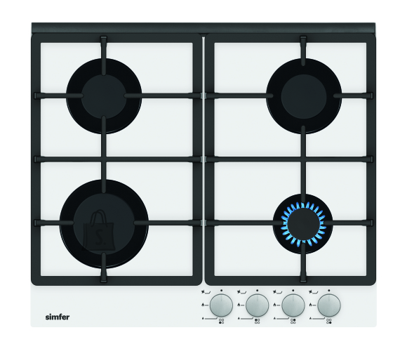 Simfer Simfer Hob H6.401.HGSBB Gas on glass, Number of burners/cooking zones 4, Rotary painted inox knobs, White