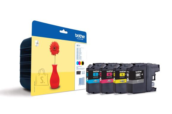 Brother Brother LC-121 Multipack Ink Cartridge, Black, Cyan, Magenta, Yellow