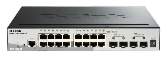 D-Link D-Link Switch DGS-1510-20 Web Management, Rack mountable, 1 Gbps (RJ-45) ports quantity 16, SFP ports quantity 2, SFP+ ports quantity 2, Power supply type Single