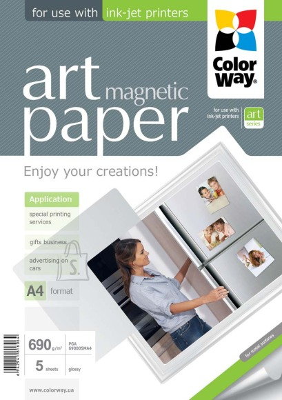 ColorWay ART Glossy Magnetic Photo Paper, 5 sheets, A4, 690 g/m²