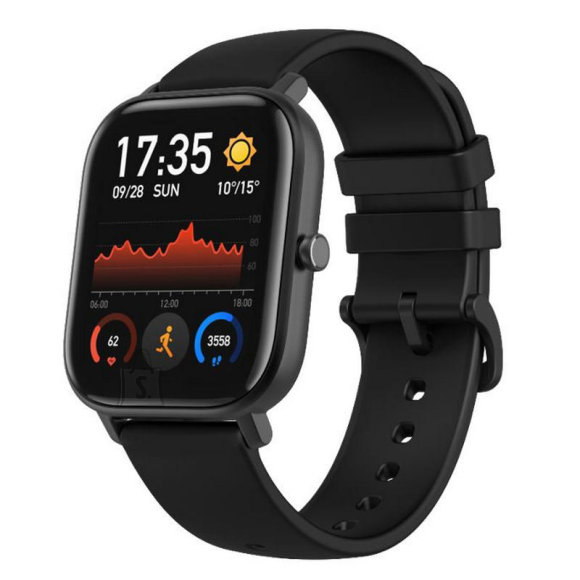 Amazfit GTS Smart watch, GPS (satellite), AMOLED, Touchscreen, Heart rate monitor, Activity monitoring 24/7, Waterproof, Bluetooth, Obsidian Black