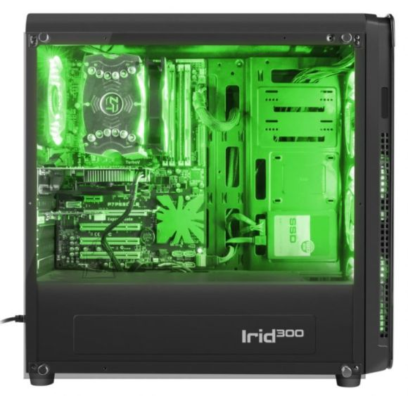 GENESIS IRID 300 Pc case, Midi tower, USB 3.0, Green