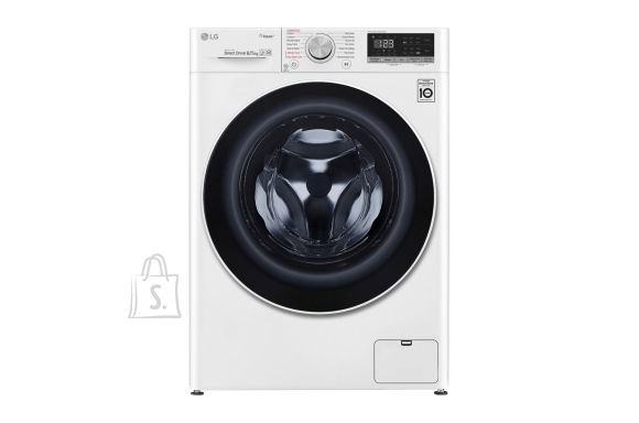 LG LG Washing machine with dryer F4DN408S0 Energy efficiency class D, Front loading, Washing capacity 8 kg, 1400 RPM, Depth 56 cm, Width 60 cm, Display, LED touch screen, Drying system, Drying capacity 5 kg, Steam function, Direct drive, Wi-Fi, White