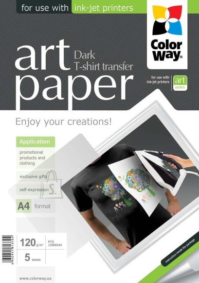 ColorWay ColorWay ART T-shirt transfer (dark) Photo Paper, 5 sheets, A4, 120 g/m²
