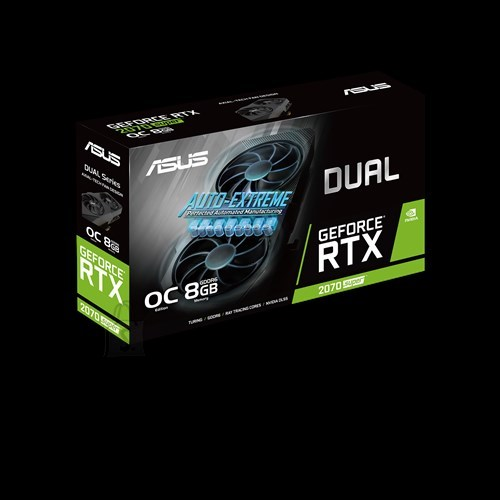 Asus Asus ASUS DUAL-RTX2070S-O8G-EVO NVIDIA, 8 GB, GeForce RTX 2070 SUPER, GDDR6, PCI Express 3.0, Processor frequency 1605  MHz, Memory clock speed 14000  MHz, HDMI ports quantity 1