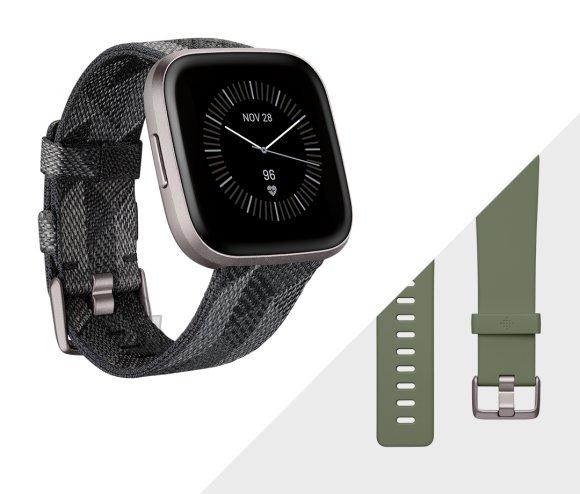 Fitbit Fitbit Versa 2 (NFC) Smartwatch, Smoke Woven Band/Mist Grey Aluminum Case