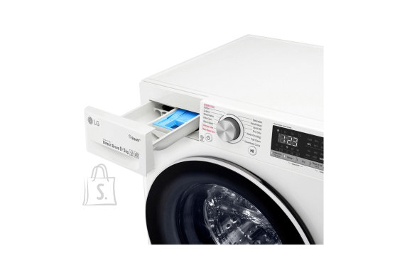 LG LG Washing machine F4DN409N0 Front loading, Washing capacity 9 kg, Drying capacity 5 kg, 1400 RPM, Direct drive, A, Depth 56 cm, Width 60 cm, White, Steam function, LED touch screen, Drying system, Display, Wi-Fi