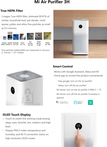 Xiaomi Xiaomi Mi Air Purifier 3H White, 38 W, Suitable for rooms up to 26-45 m²