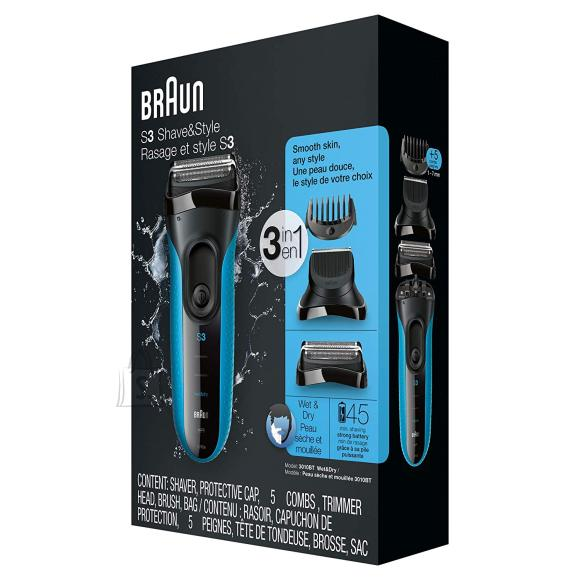 Braun Braun Shaver with trimmer Series 3 Shave&Style 3010BT Cordless, Charging time 1 h, Operating time 45 min, Wet use, NiMH, Number of shaver heads/blades 2, Black/Blue
