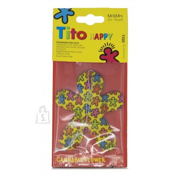 Mr&Mrs Mr&Mrs Tito Happy Car air freshner JTITOPAP05V00 Scent for Car, Cannabis flower, Yellow