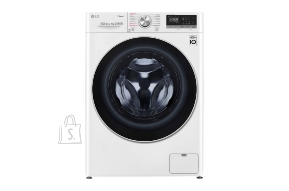 LG LG Washing machine F2WN6S7S1 Energy efficiency class E, Front loading, Washing capacity 7 kg, 1200 RPM, Depth 45 cm, Width 60 cm, Display, LED touch screen, Steam function, Direct drive, Wi-Fi, White
