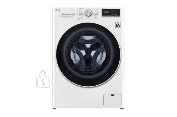 LG LG Washing machine with dryer F4DN409S0 Front loading, Washing capacity 9 kg, Drying capacity 5 kg, 1400 RPM, Direct drive, A, Depth 56 cm, Width 60 cm, White, Steam function, LED touch screen, Drying system, Display, Wi-Fi