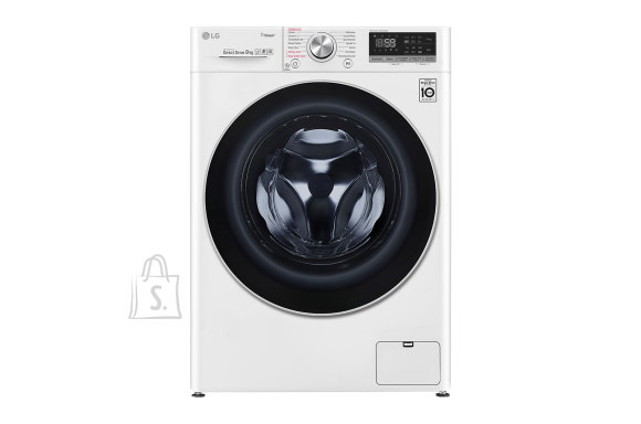 LG LG Washing machine F4WN609S1 Front loading, Washing capacity 9 kg, 1400 RPM, Direct drive, A+++ -30%, Depth 56 cm, Width 60 cm, White, Steam function, LED touch screen, Display, Wi-Fi