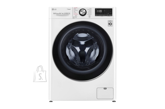 LG LG Washing machine with Dryer F4DV910H2 Front loading, Washing capacity 10.5 kg, Drying capacity 7 kg, 1400 RPM, Direct drive, A, Depth 56 cm, Width 60 cm, White, Steam function, LED, Drying system, Wi-Fi