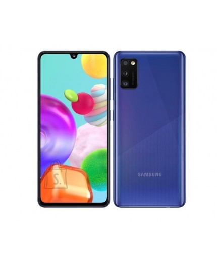 "Samsung Samsung Galaxy A41 Prism Crush Blue, 6.1 "", Super AMOLED, 1080 x 2400, Mediatek MT6768 Helio P65, Internal RAM 4 GB, 64 GB, microSD, Dual SIM, Nano-SIM, 3G, 4G, Main camera Triple 48 + 8 + 5 MP, Secondary camera 25 MP, Android, 10, 3500 mAh"