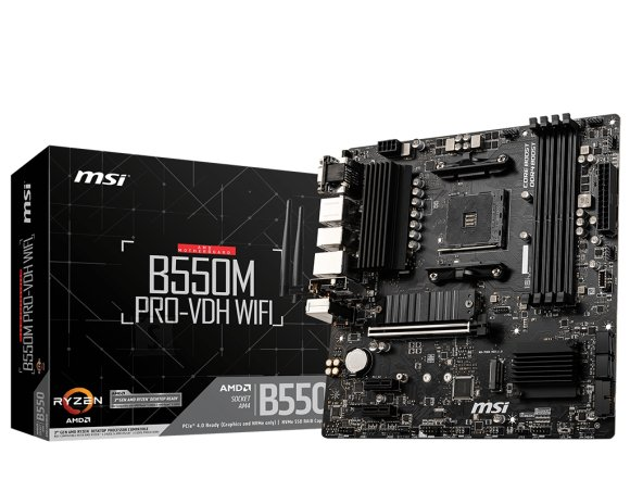 MSI MSI B550M PRO-VDH WIFI Processor family AMD, Processor socket AM4, DDR4, Memory slots 4, Chipset AMD B, Micro ATX