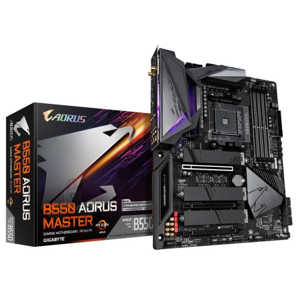 Gigabyte Gigabyte B550 AORUS MASTER 1.0 Processor family AMD, Processor socket AM4, DDR4 DIMM, Memory slots 4, Chipset AMD B, ATX