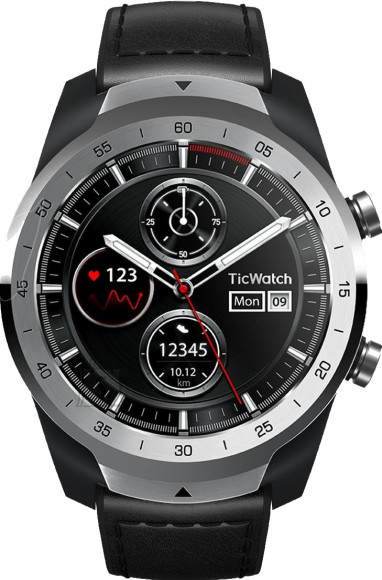 TicWatch Pro Liquid Smart watch, NFC, GPS (satellite), AMOLED, Touchscreen, Heart rate monitor, Activity monitoring 24/7, Waterproof, Bluetooth, Metal Silver