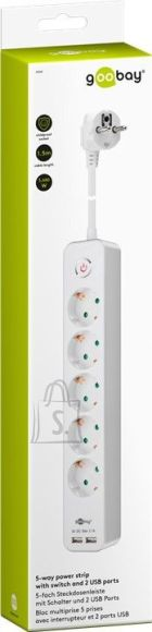Goobay Goobay 5-way power strip with switch and 2 USB ports 1.5 m White