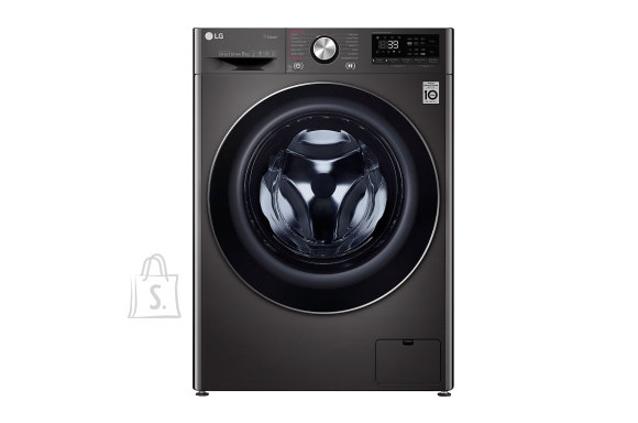 LG LG Washing machine F4WV909P2S Front loading, Washing capacity 9 kg, 1400 RPM, Direct drive, A+++ -50%, Depth 56 cm, Width 60 cm, Black, Steam function, LED touch screen, Display, Wi-Fi