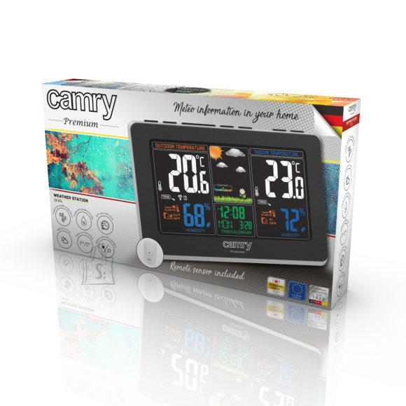 Camry Camry Weather station CR 1174 Black, Colorful digital display, Remote sensor