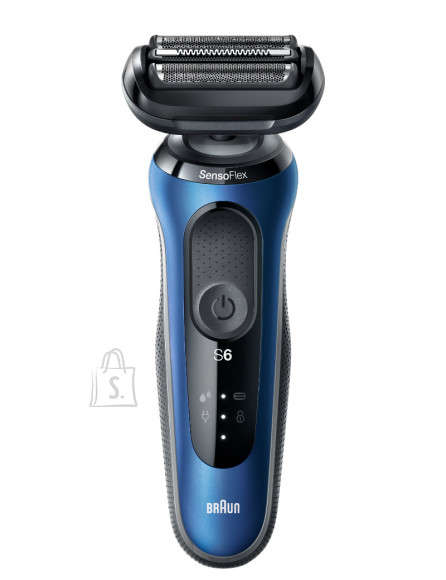 Braun Braun Shaver 60-B1500s Cordless, Charging time 1 h, Lithium Ion, Number of shaver heads/blades 3, Black/Blue, Wet & Dry
