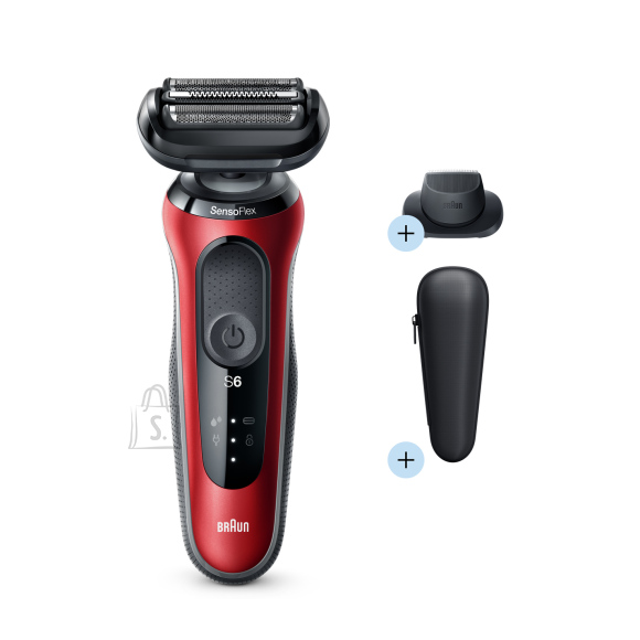 Braun Braun Shaver 60-R1200s Cordless, Charging time 1 h, Wet use, Lithium Ion, Number of shaver heads/blades 3, Red/Black