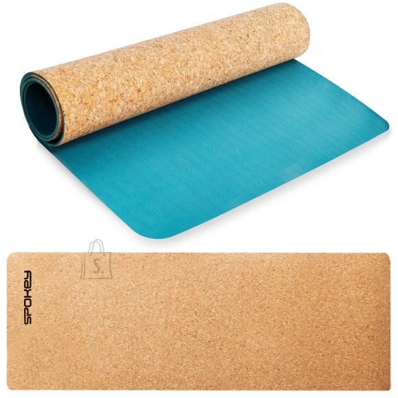 Spokey Spokey SAVASANA Yoga mat, Two-layer, Non-slip surface, 180 x 60 x 0.4 cm, Blue, Cork/TPE