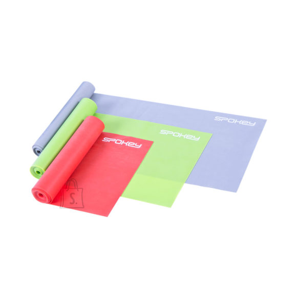 Spokey Spokey SWING II 3 fitness bands set, 120 x 15 cm, Weak (gray), Medium (green) and Strong (red), Mixed colors, Rubber
