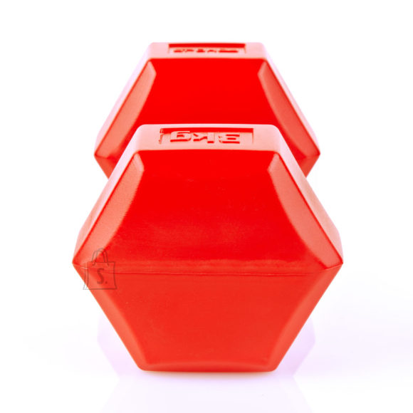 Spokey Spokey MONSTER II Hexagonal Dumbbell Set, 2x3 kg, Red, PVC coated cement